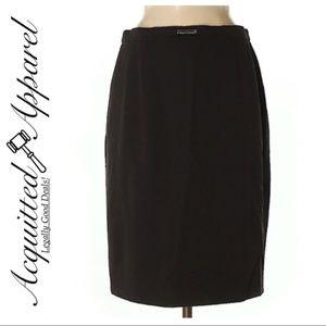 ESCADA Dark Brown Classic Pencil Skirt Wool Blend
